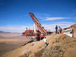 Reverse circulation drilling using a tracked drill rig on an exploration program for epithermal gold mineralization in Nevada