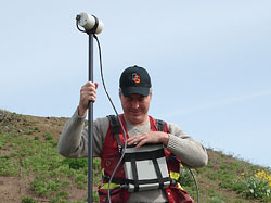 Rick Mitchell carrying out a combined Magnetometer/VLF survey using a GEM Systems GSM-19 unit